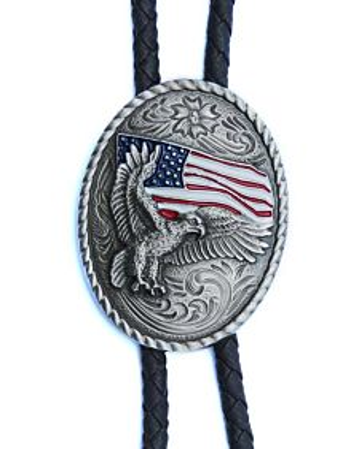Men's Double S Bolo Tie, Eagle/Usa Flag