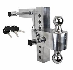 2 in Receiver Interchangeable Adjustable 8 in Drop Hitch Mount With Case - Silver