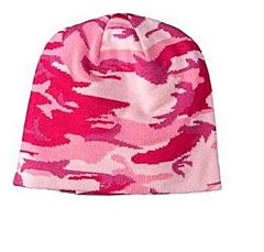 Women's Knit Beanie - Pink Camo, One Size Fits All