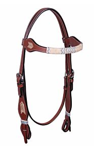 Flat Rawhide With Chevron Browband Headstall - Turquoise
