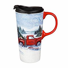 Truck And Sled Ceramic Travel Cup With Box - 17 oz