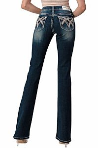 Women's Crossing Stitched Lines Low Rise Bootcut Jeans