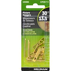 Conventional Picture Hangers 30 Lb, Brass