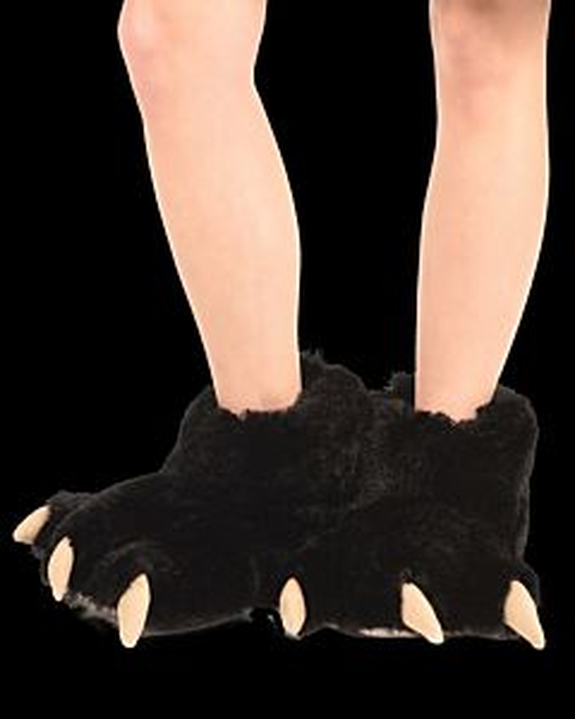 Women's Black Bear Paw Slippers