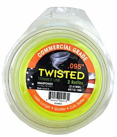 Commercial Grade Twisted Trimmer Line .095 in Diameter X 40' Length - Appx. 2 Refills