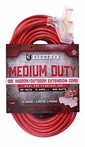 Red Medium Duty In/Out 3 Plug Extension Cord 14 Gauge - 100 ft
