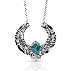 Women's Blue Moon Turquoise Necklace - Silver