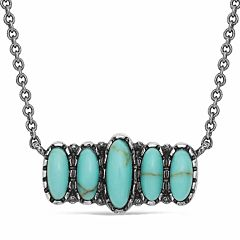 Women's Quint Bar Necklace - Turquoise, Silver