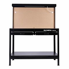 Steel Workbench W/Light, Outlets, Pegboard And Storage - Black