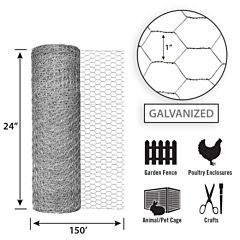 Galvanized Poultry Netting -Silver, 24 in X 150 ft