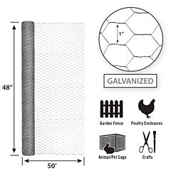 Galvanized Hex Netting -Silver, 48 in X 50 ft, 1 in Msh