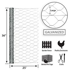 Galvanized Hex Netting -Silver, 36 in X 25 ft, 2 in Msh