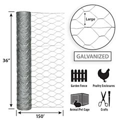Galvanized Hex Netting -Silver, 36 in X 150 ft, 2 in Msh