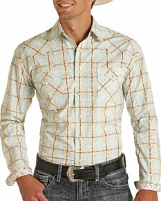 Men's Regular Fit Plaid Long Sleeve Snap Shirt