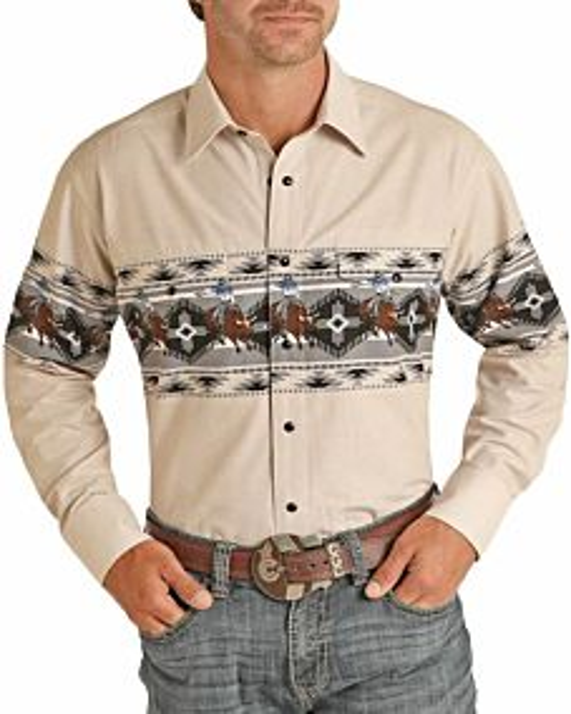 Men's Relaxed Fit Aztec Border Print Long Sleeve Snap Shirt
