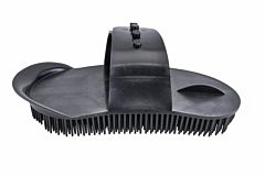 Large Plastic Curry Comb With Strap - Black