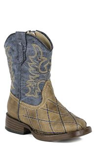 Toddler Boys Tan And Navy Embroidered Boot