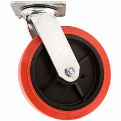 8 in Polyurethane Caster Wheel With Swiveling Top Plate