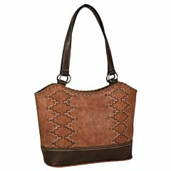 Women's Russet Tote Embroidered Purse - Brown