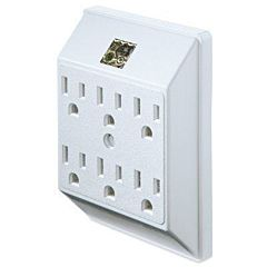 6-Outlet Wall Tap - White