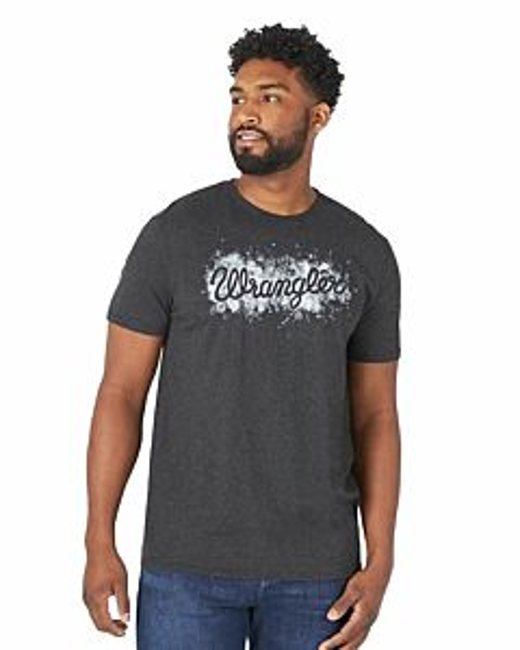Men's Short Sleeve Paint Stencil Script Logo Tee