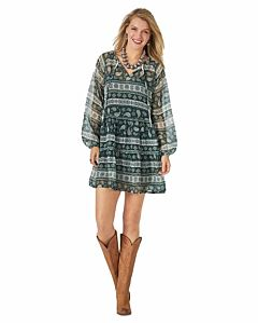 Women's Retro Long Sleeve Floral Stripe Crinkle Peasant Dress