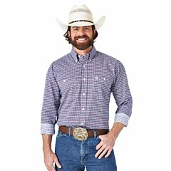 Men's George Strait Long Sleeve Two Pocket Button Up Plaid Pattern Shirt