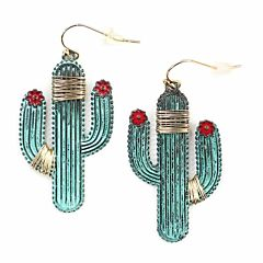 Wire Wrapped Saguaro Cactus Earrings - Patina