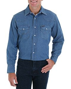 Men's Work Western Stonewash Denim Long Sleeve Shirt