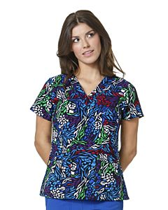 WonderWink Four-Stretch Women's Sporty Printed V-Neck Top