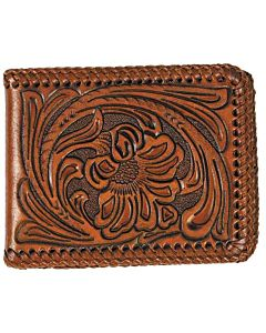 Men's Tooled Bi-Fold Wallet - Brown