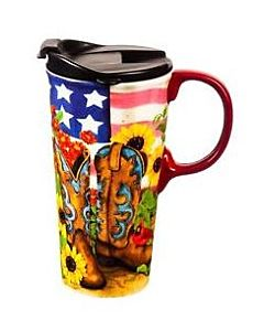 Cowgirl Boot Garden Travel Mug 17 Oz. - Ceramic