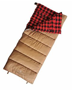 Sleeping Bag 0Deg Flannel - Tan/Red, 34 in X 84 in