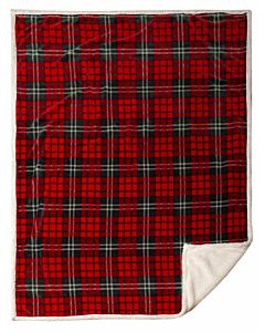 Holiday Plaid Sherpa Throw Blanket - 54 in X 68 in