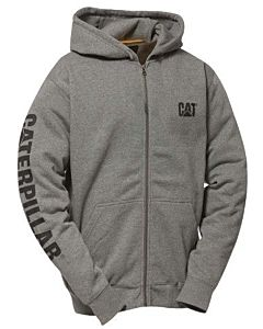 Men's Full Zip Banner Hoodie - Heather Grey, 2XL