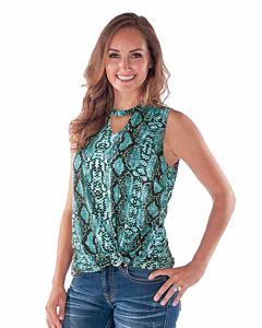 Women's Snakeskin Print Sleeveless Tee
