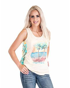 Women's Recerback Tank + Beach Grahic, Pineaple Print Back