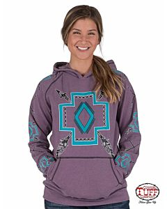 Women's Turquoise Graphics Hooded Sweatshirt