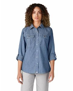 Women's Cotton And Polyester Long Sleeve Chambray Roll-Tab Work Shirt