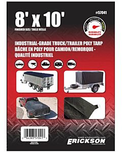 Industrial Grade Truck/Trailer Tarps - Black, 8 ft X 10 ft