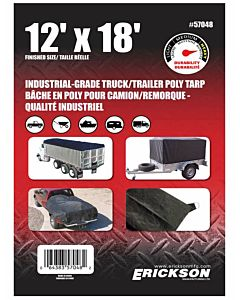 Industrial Grade Truck/Trailer Tarps - Black, 12 ft X 18 ft