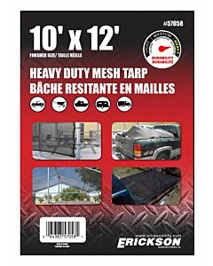 Heavy Duty Mesh Tarp - Black, 10 ft X 12 ft