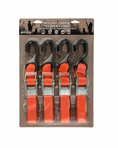 Sportsman Tie-Down Straps 4 Pack - Orange, 6 ft