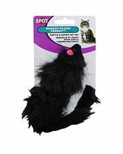 Shaggy Plush Ferret Rattle & Catnip - Black