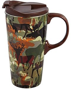 Woodland Camouflage Travel Cup 17 Oz. - Ceramic