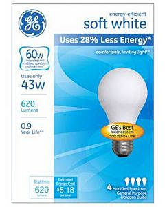 Halogen 4 Pack 43W Soft White Bulb
