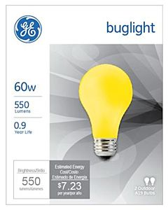 2 Pack 60W Yellow Bug Light Bulb