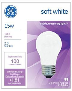 2 Pack 15W Soft White Light Bulb