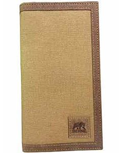 Men's Canvas Checkbook Wallet - Brown