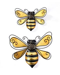 Metal Bee Wall Decor, Set Of 2 - Iron